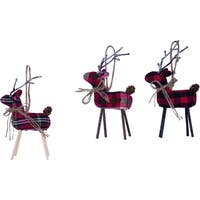 Plaid Deer Ornament Set of 3