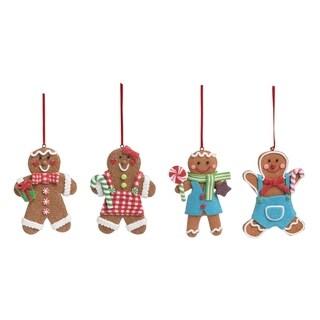 Acrylic Light Up Gingerbread Glitter Ornament Set of 4