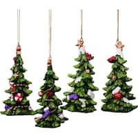 Resin Holiday Tree Ornament Set of 4