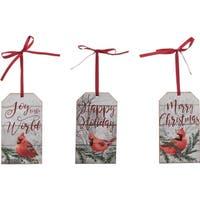 Cardinal Plaque Ornament Set of 3