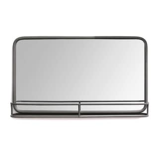 Stratton Home Decor Mason Metal Mirror with Shelf - Gun Metal - A/N