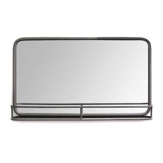 Stratton Home Decor Mason Metal Mirror with Shelf - Gun Metal