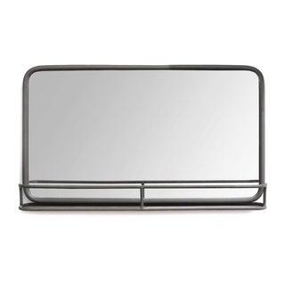 Stratton Home Decor Mason Metal Mirror with Shelf - Gun Metal - A/N