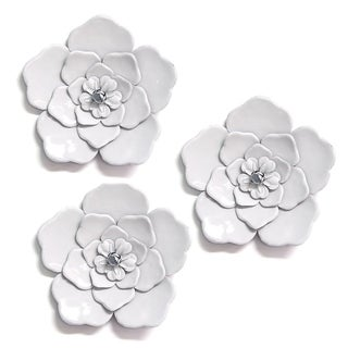 Stratton Home Decor White Metal Wall Flowers (Set of 3) - N/A