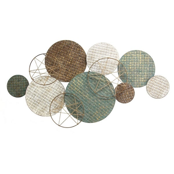 Stratton Home Decor Woven Texture Metal Plates With Jute Accents Overstock 22730316