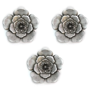 Stratton Home Decor Silver Metal Wall Flowers (Set of 3) - N/A