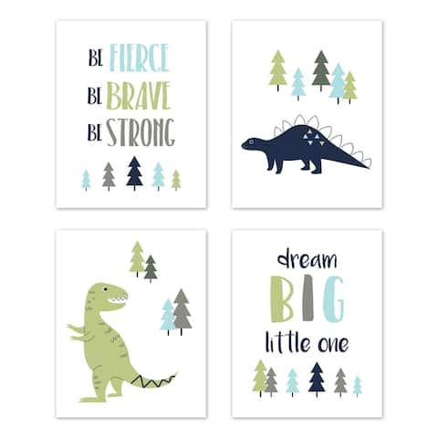 Sweet Jojo Designs Blue and Green Dream Big Dino Mod Dinosaur Collection Wall Decor Art Prints (Set of 4)