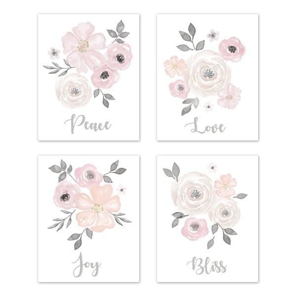 Sweet Jojo Designs Blush Pink & Grey Love Peace Joy Bliss Watercolor Floral Collection Wall Decor Art Prints (Set of 4)