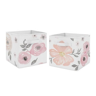 Sweet Jojo Designs Pink and Grey Watercolor Floral Collection Foldable Fabric Storage Cube Bins Boxes (Set of 2)