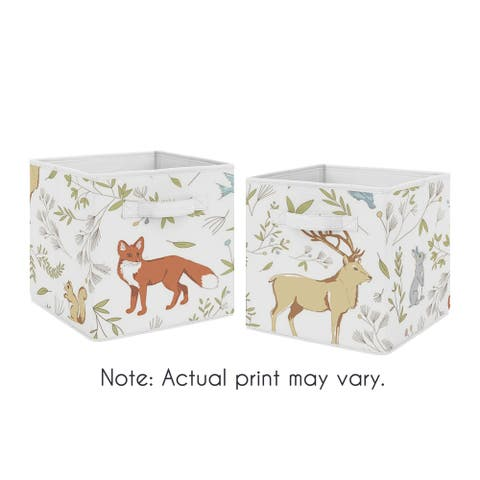 Sweet Jojo Designs Woodland Animal Toile Collection Foldable Fabric Storage Cube Bins Boxes (Set of 2)