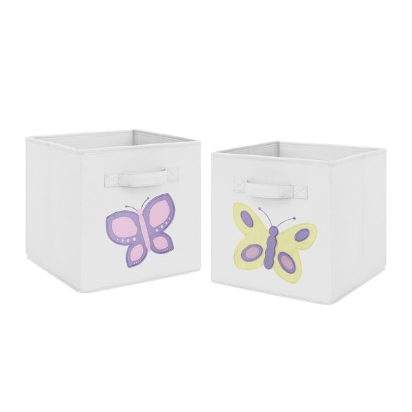 Sweet Jojo Designs Pink and Yellow Butterfly Collection Foldable Fabric Storage Cube Bins Boxes (Set of 2)