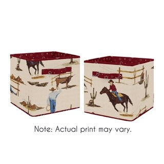 Sweet Jojo Designs Tan and Red Cowboy Wild West Collection Foldable Fabric Storage Cube Bins Boxes (Set of 2)