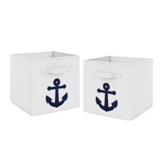 Sweet Jojo Designs Navy Blue Nautical Anchor Anchors Away Collection Foldable Fabric Storage Cube Bins Boxes (Set of 2)