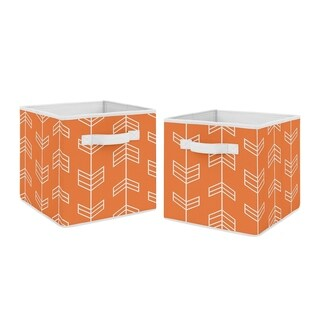 Sweet Jojo Designs Orange Arrow Collection Foldable Fabric Storage Cube Bins Boxes (Set of 2)