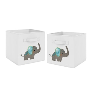 Sweet Jojo Designs Turquoise and Grey Mod Elephant Collection Foldable Fabric Storage Cube Bins Boxes (Set of 2)