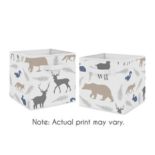 Sweet Jojo Designs Blue and Grey Woodland Animals Collection Foldable Fabric Storage Cube Bins Boxes (Set of 2)