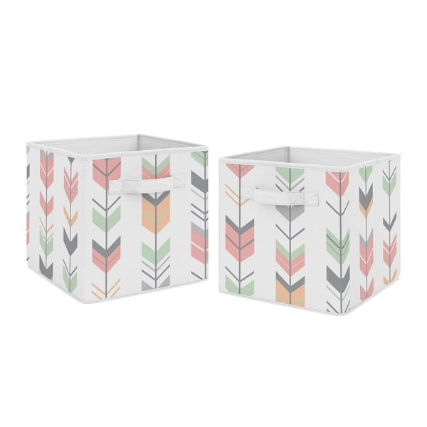 Sweet Jojo Designs Coral and Mint Woodland Mod Arrow Collection Foldable Fabric Storage Cube Bins Boxes (Set of 2)