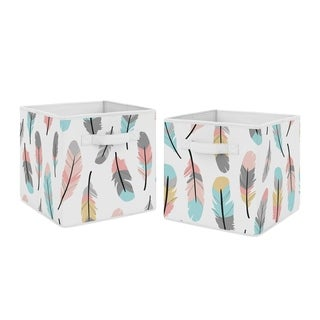 Sweet Jojo Designs Turquoise and Coral Boho Feather Collection Foldable Fabric Storage Cube Bins Boxes (Set of 2)