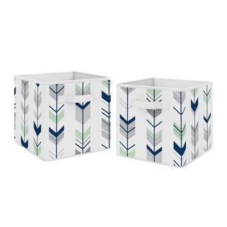 Sweet Jojo Designs Navy Blue and Mint Woodland Mod Arrow Collection Foldable Fabric Storage Cube Bins Boxes (Set of 2)