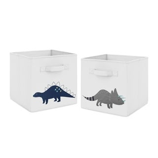 Sweet Jojo Designs Navy Blue Grey Modern Dino Mod Dinosaur Collection Foldable Fabric Storage Cube Bins Boxes (Set of 2)