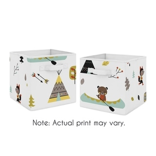Sweet Jojo Designs Outdoor Adventure Collection Foldable Fabric Storage Cube Bins Boxes (Set of 2)