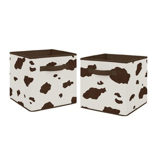 Sweet Jojo Designs Brown and Cream Cow Print Wild West Collection Foldable Fabric Storage Cube Bins Boxes (Set of 2)