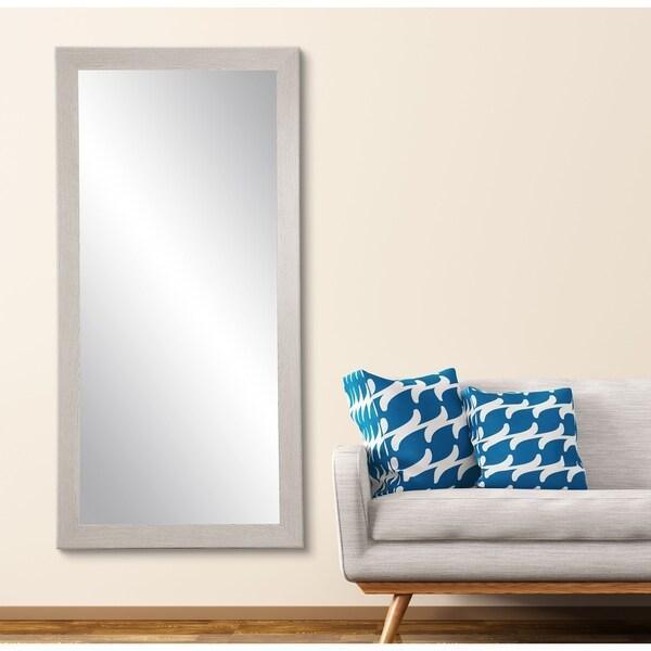 Farmhouse Gray Wood Grain Floor Mirror