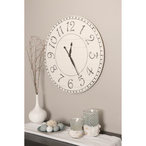 Oversized Antique White Farmhouse Wall Clock