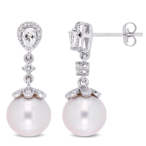 Miadora 10k White Gold Cultured Freshwater Pearl White Topaz Floral Drop Earrings (9-9.5mm)
