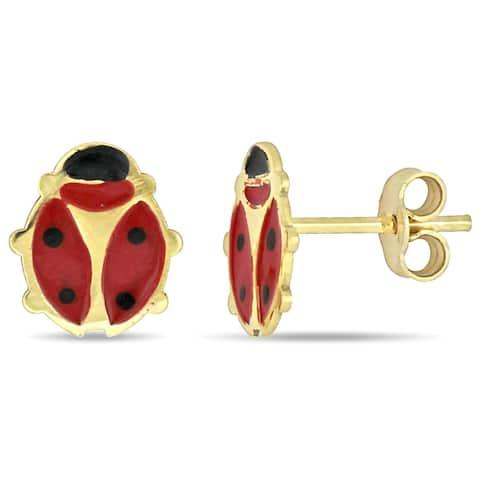 Miadora 18k Yellow Gold Children's Ladybug Stud Earrings