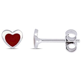 Miadora 18k White Gold Children's Heart Stud Earrings