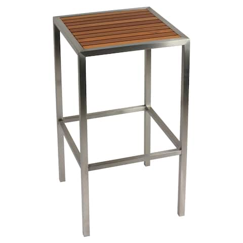 Cortesi Home Kratos Brushed Stainless Steel with Genuine Teak Top, Indoor or Outdoor Backless Barstool, 30""