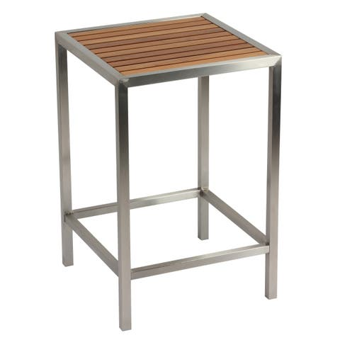 Cortesi Home Kratos Brushed Stainless Steel with Genuine Teak Top, Indoor or Outdoor Backless Counter Stool, 24""