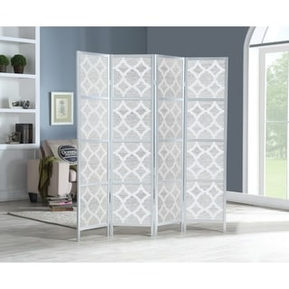 Quarterfoil infused Diamond Design 4-Panel Room Divider