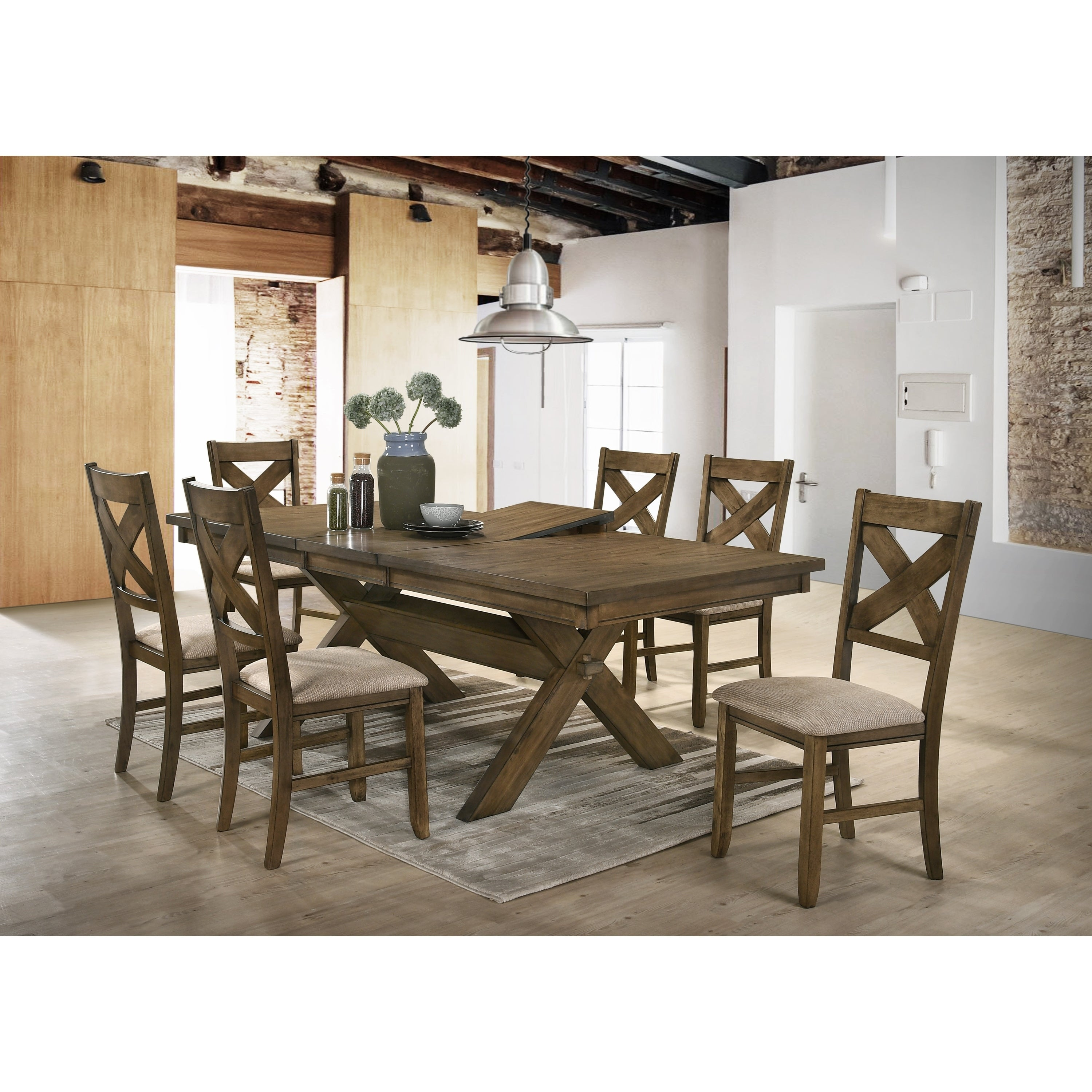 Raven Wood Dining Set Erfly Leaf Table Six Chairs