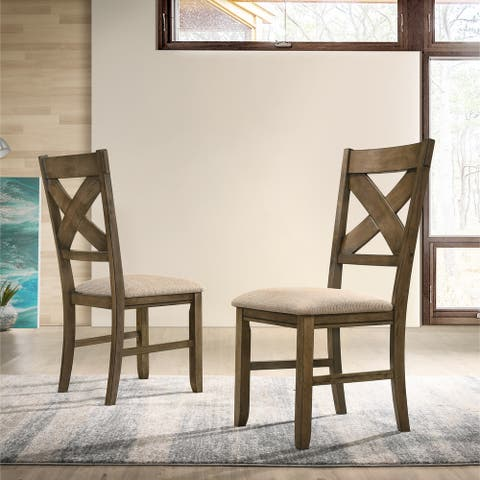 Raven Wood Fabric Upholstered Dining Chair (Set of 2)