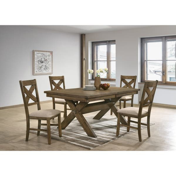 Raven Wood Cross Buck Base Dining Table With Erfly