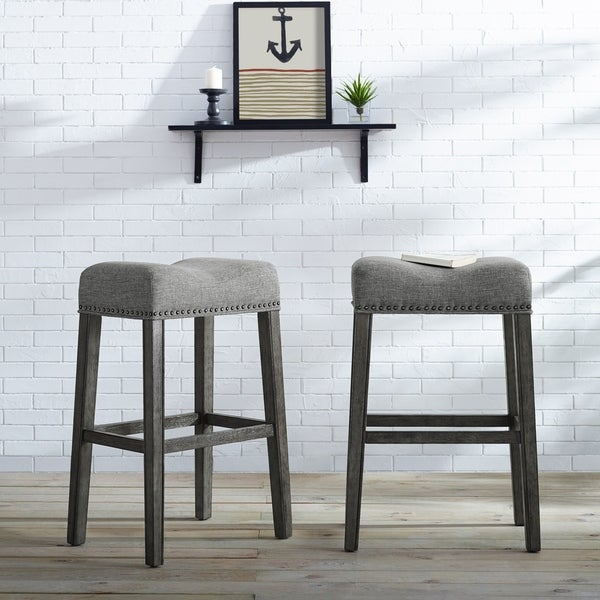 Shop Coco Upholstered Backless Saddle Seat Bar Stools 29