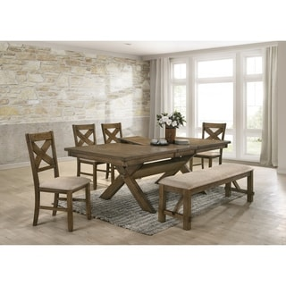 Raven Wood Dining Set: Butterfly Leaf Table, Four Chairs, Bench