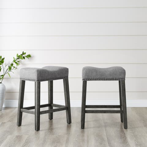 The Gray Barn Barish Backless Saddle Seat Counter Stools (Set of 2)