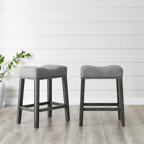 The Gray Barn Barish Backless Saddle Seat Counter Stools (Set of 2)