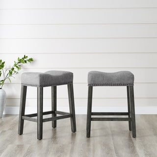 "CoCo Upholstered Backless Saddle Seat Counter Stools 24"" height Set of 2"