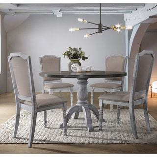 Iris Weathered White Wood 5-Piece Dining Set