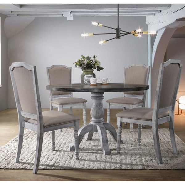 White Wood Dining Set: Shop Iris Weathered White Wood 5-Piece Dining Set