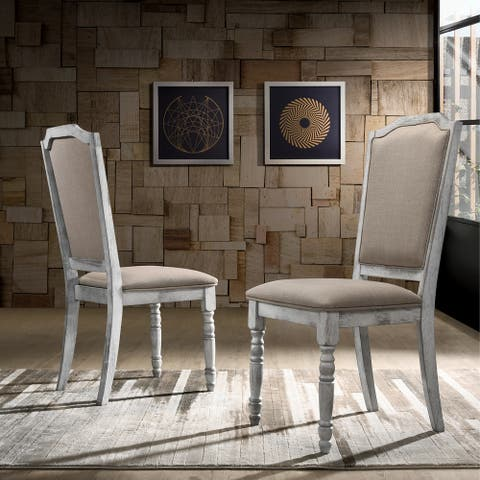 Iris Turned Leg Wood Dining Chair Set of 2