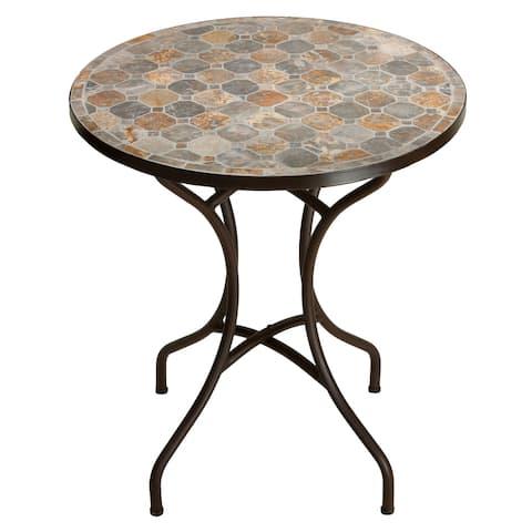 """Cortesi Home Deedee Mosaic Round Indoor/Outdoor Bistro Table - 27.5""""w x 27.5""""l x 30""""h"""