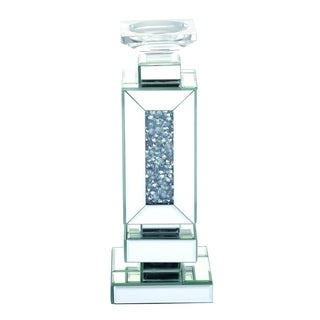 Mirrored 13.5 Inch Crystal Candleholder - 13.5 inch height