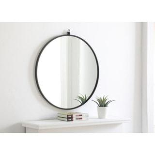 Strick & Bolton Patti Metal 28-inch Round Mirror with Decorative Hook