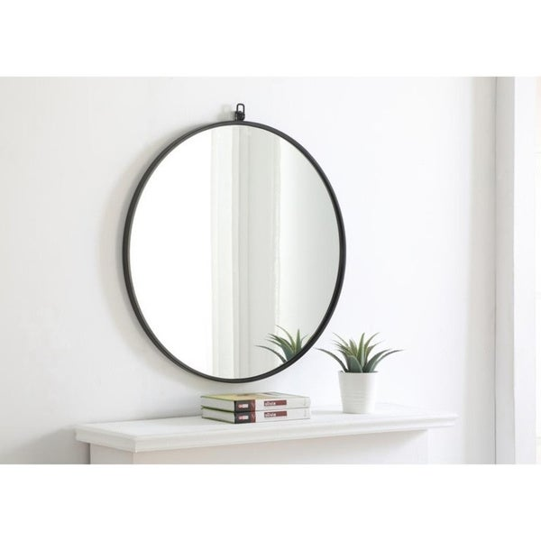 Strick & Bolton Patti Metal 28-inch Round Mirror with Decorative Hook. Opens flyout.