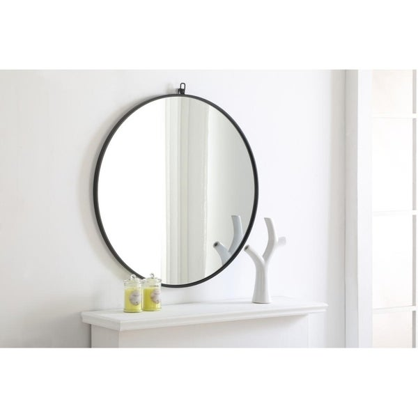 Strick & Bolton Patti Metal 32-inch Round Mirror with Decorative Hook. Opens flyout.